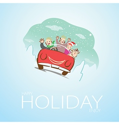 Family and dog travel on Christmas vector image