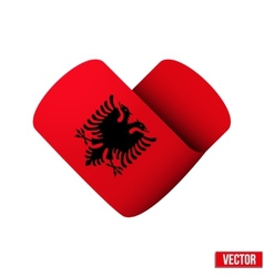 Flag icon in the form of heart I love Albania vector image vector image