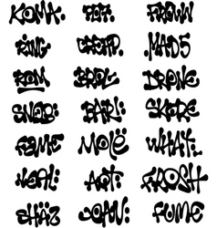 Liquid black graffiti tags collection over white vector