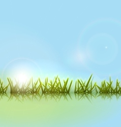 Morning meadow grass green reflection in river vector image vector image