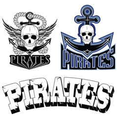 pirate themed design elements pirate symbol vector image