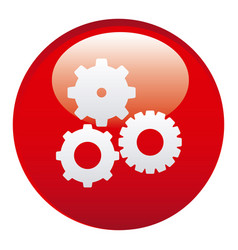 red gears emblem icon vector image vector image