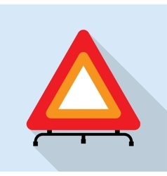 Red reflecting traffic warning triangle vector image