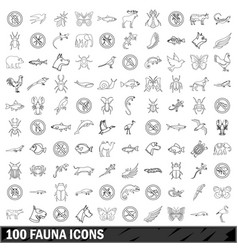 100 fauna icons set outline style vector image