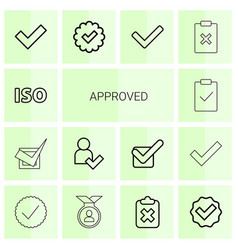 14 approved icons vector