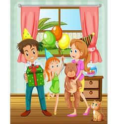 A family inside the house near the window vector