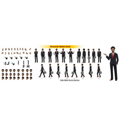 african businessman character model sheet vector image