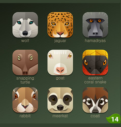 Animal faces for app icons-set 14 vector