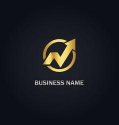 Arrow growth sign gold logo vector
