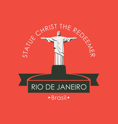 Banner with statue christ redeemer in rio vector