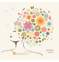 Beautiful woman with flowers and butterflies vector