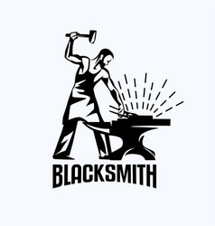 blacksmith isolated symbol stylized retro emblem vector image