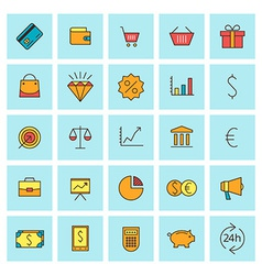 Business and finance icon set in flat design style vector