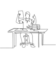 Business deal concept single line drawing of vector