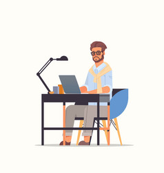 businessman using laptop business man sitting at vector image