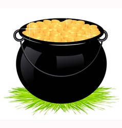 Cauldron with money vector