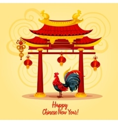 Chinese New Year rooster greeting card design vector image vector image
