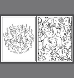 coloring pages set with cute elephants doodle vector image