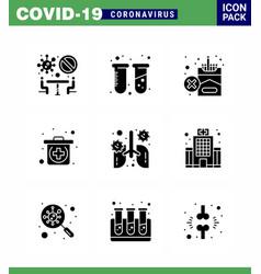 coronavirus awareness icons 9 solid glyph black vector image