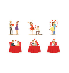 couples on dates set young vector image