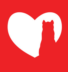 cute cartoon red cat in heart logo kids vector image