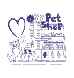 Cute cat and dog in a pet shop vector
