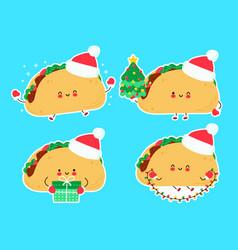 Cute happy funny christmas taco set vector