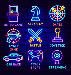 cyber games neon label set vector image