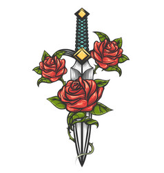 Dagger knife and rose flowers drawn in tattoo vector