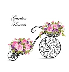 Decorative bicycle with a basket full of flowers vector