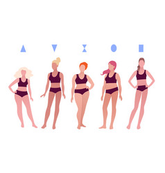 Different body positive female figures vector