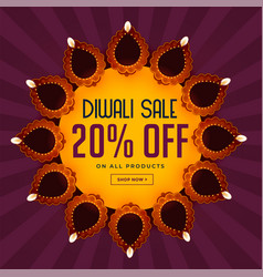 Diwali sale background with beautiful diya vector