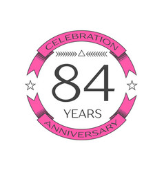 Eighty four years anniversary celebration logo vector