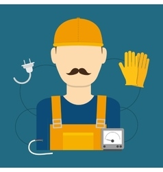 Electric technician man vector image