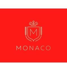 Elegant monogram letter M logotype Premium crest vector image