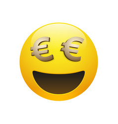 Emoticon with golden euro sign vector