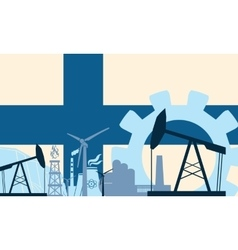 Energy and power icons set with finland flag vector