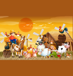 Farm in nature scene with barn and animal vector