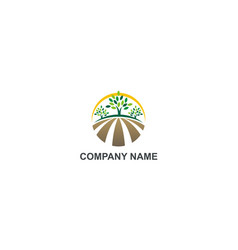 farm nature organic land logo vector image