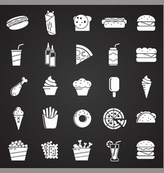 fasfood icons set on black background for graphic vector image