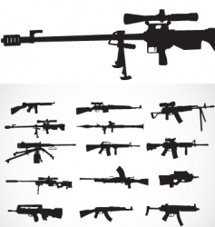 firearm silhouettes vector image