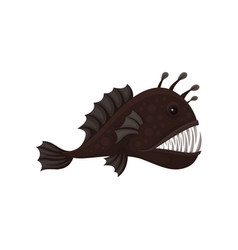 Flat icon of fangtooth fish side view vector