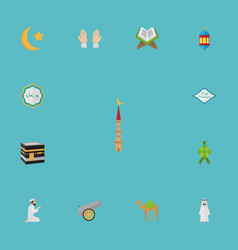 Flat icons holy book new lunar islamic lamp and vector