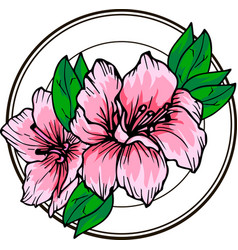 Flowers delicate azalea in a circle design element vector