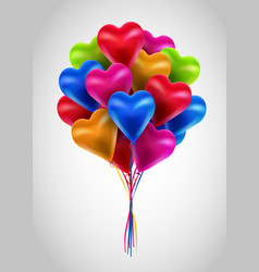 Flying bunch of multicolored balloon hearts vector