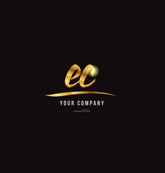 Gold alphabet letter ec e c logo combination icon vector