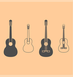 guitar dark grey set icon vector image