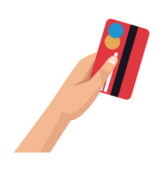 hand with credit card payment financial concept vector image