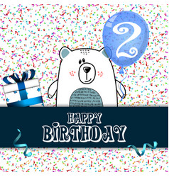 Happy birthday card design for two year old baby vector