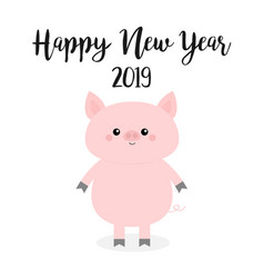Happy new year pink pig piggy piglet chinise vector